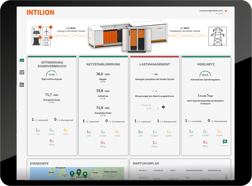 Energy management system for large-scale and commercial storage